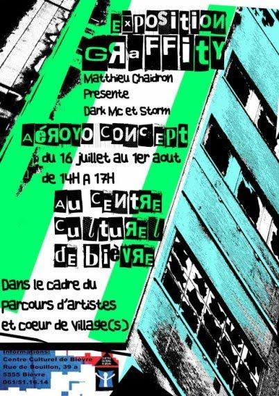 exposition graffiti matthieu chaidron Dark MC et Storm Aéroyo Concept centre culturel de bievre parcours artistes