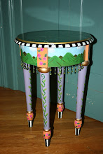 Happy-Hills Tea Table w/ Faux Marble & Beaded-glass Fringe