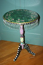 Eye-Candy Tea Table w/ Faux Marble & beaded glass fringe