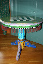 Chess/Checkers Game Table w/ Beaded Glass Fringe