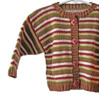 handknit baby sweater red brown green