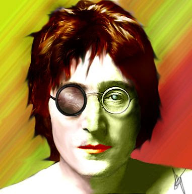 Comic drawing Portrait John Lennon duality face war peace colors