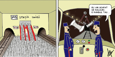 comic cartoon benzi desenate Statia Unirii multi oameni asteapta metroul care intarzie motiv mecanicii intampina obstacole balauri topoare pe sina