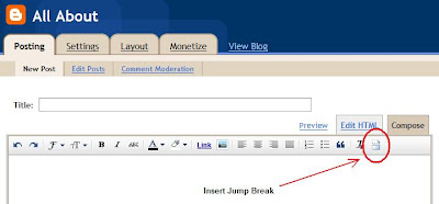 Tombol Insert Jump Break di new post editor