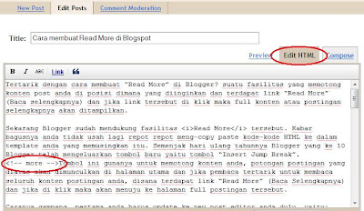 Cara membuat Read More di Blogspot