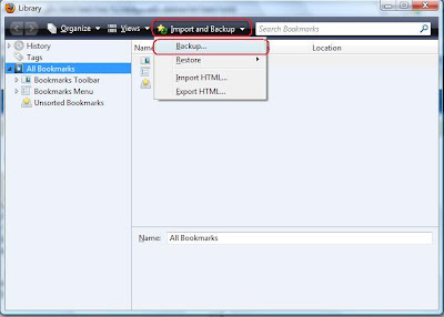 cara buat backup bookmarks Firefox