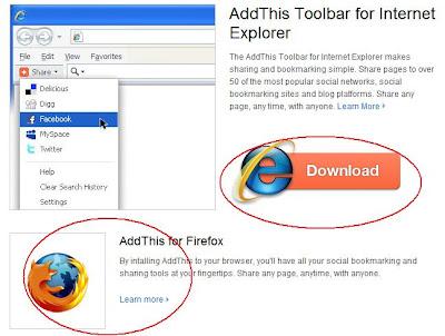 cara install AddThis Toolbar pada browser