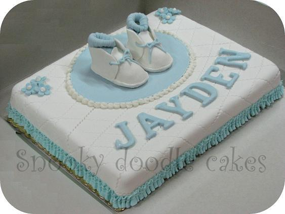 Snooky doodle Cakes: Baby boy baptism cake