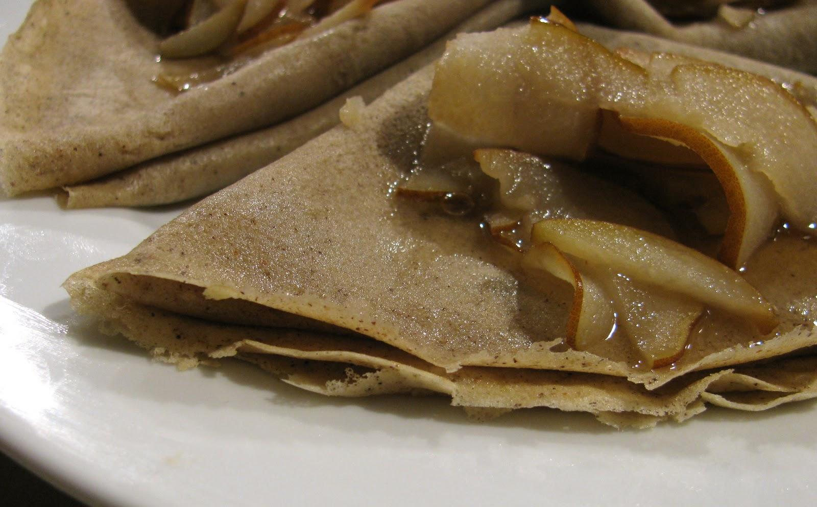 Gluten Free/Lactose Free Buckwheat Crepes with Sautéed Maple Pears