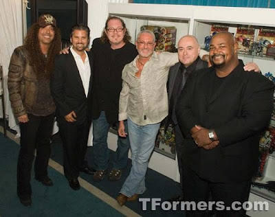 L to R: Jess Harnell (Ironhide), Andre Sogliuzzo (Sideswipe), Fred Tatasciroe (Kichenbot), Charles Adler (Starscream), Mark Ryan (Jetfire/Bumblebee), Kevin Michael Richardson (Rampage/Prime #2)