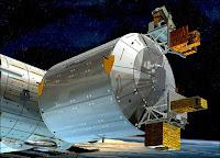 Gros-plan sur le module Columbus. Illustration artistique de la NASA.