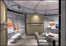 Illustration artistique d'un laboratoire installé dans un module installé à la surface de Mars Document http://www.exploremarsnow.org/