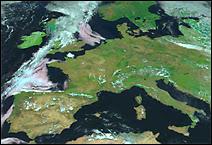Photo satellite de l'Europe prise le 10 août 2003 à 12h TU par le satellite MSG-1. C'était la canicule avec des températures largement supérieure à 30°C durant plusieurs jours qui feront plus de 10000 victimes, notamment en France. Document Eumetsat.