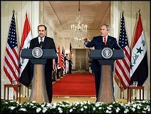 La conférence de presse du Président George W. Bush avec le premier ministre d'Irak Kamal al-Maliki, le 30 novembre 2006. Ses propos seront très critiqués par le New York Time dès le lendemain, jugeant la vision de M.Bush totalement irréaliste.