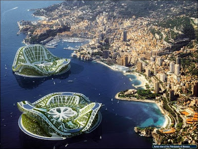 Deux Lilypads au large de Monaco. Document Vincent Callebaut Architectures.