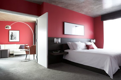 red wall bedroom interior design