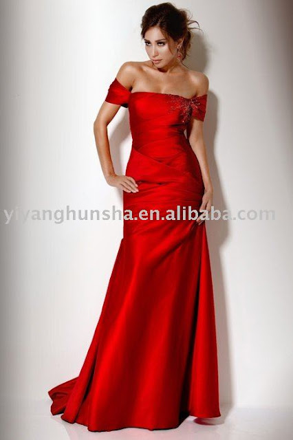 2010-2011 top fashion style off shoulder red satin evening dresses women clothes