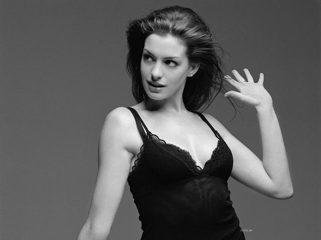 Anne Hathaway Sexy Black Dress Modeling Photos