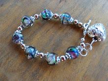 Pulsera de perlas de murano con plata y fantasia