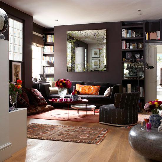 Dark Brown and Orange Living Room