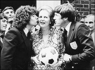 Kevin Keegan and Emlyn Hughes cosying up to Thatcher on the Downing Street steps