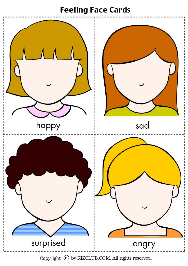 Feelings face cards