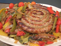 Grilled Sausage Ring Over Pepperonata