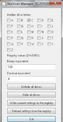 NoDrives Manager 1.2.0 portable - software gratis, serial number, crack, key, terlengkap