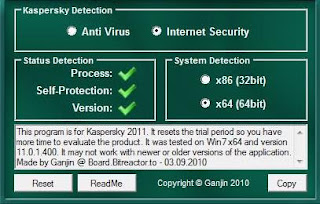 Ganjin's Kaspersky 2011 TR v1.5p - software gratis, serial number, crack, key, terlengkap