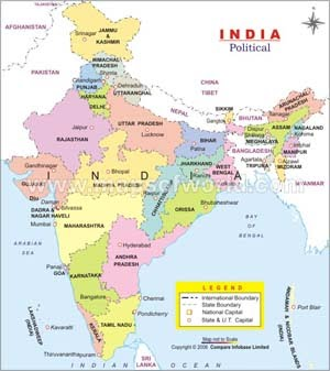 Map of India (showing Bhubaneshwar)
