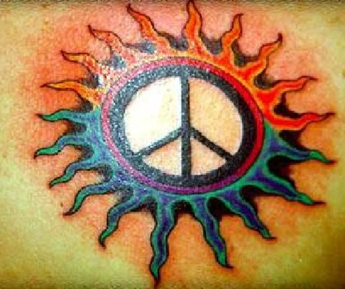 peace sun tattoo design.