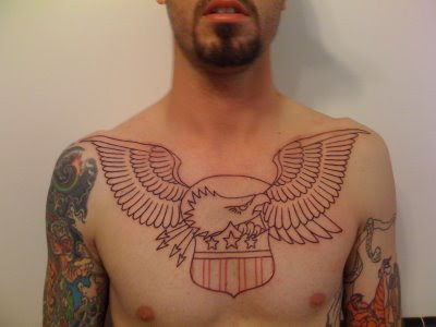 Eagle American Electric Tattoo on chest Eagle American Electric Tattoo on