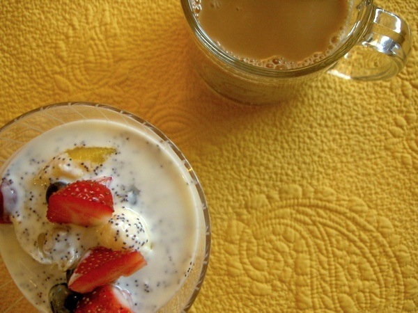 Fruit Salad with Poppy Seed Yogurt