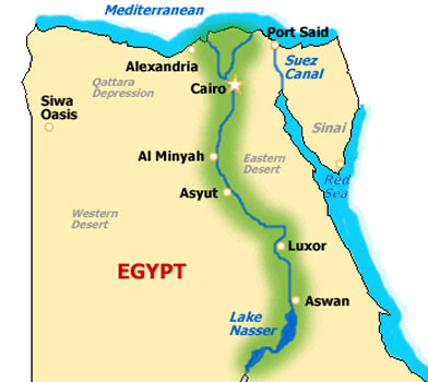 Map of the Nile River Valley