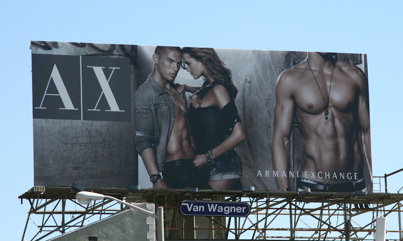 Armani Exchange hot fashion model billboard