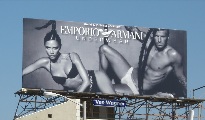 David Beckham and Posh Spice Armani Underwear billboard