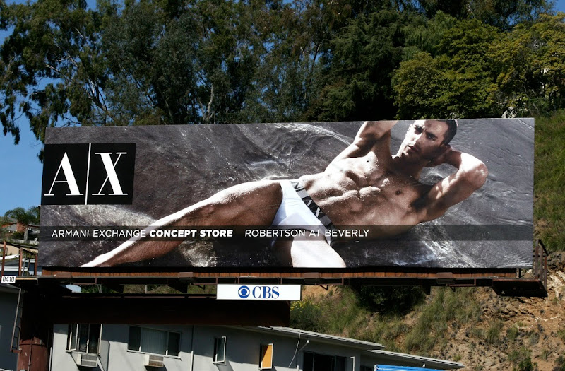 Hot Armani Exchange male underwear model billboard