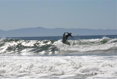 Riding waves in Santa Barbara