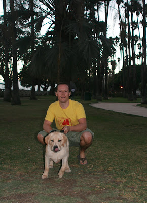 Jason and Cooper posing in the Palisades Park for their photo in Santa Monica