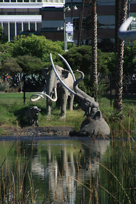 Mammoths trapped in the Lake Pit at La Brea Tar Pits