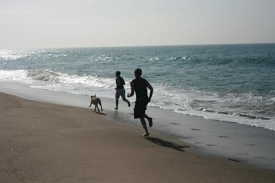 Racing up the beach