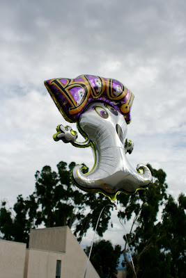 Halloween balloon against stormy skies