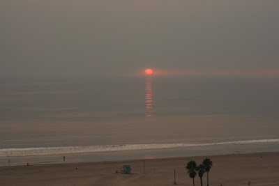 The sun goes down in Santa Monica