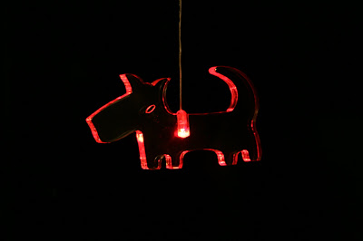 Christmas dog light decoration in red