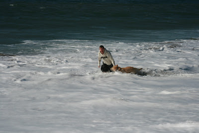 Staggering out of the surf