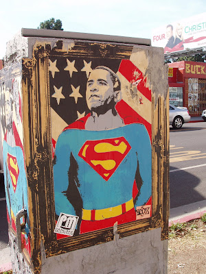 Super President Obama poster on Melrose Avenue