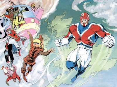 Captain Britain and sidekick jackdaw and the Crazy Gang
