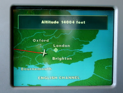 Flight path to London on UK map