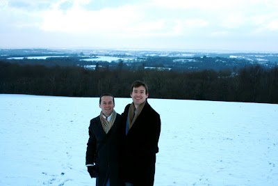 Jason and Charlie in snowy Crowborough