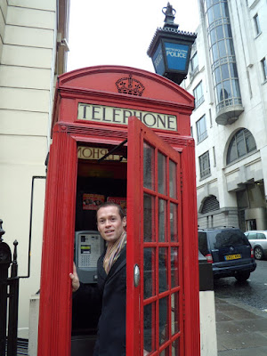 Jason in a classic red telephone box